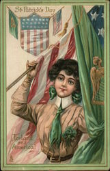 St Patricks Day - Ireland and America! - woman holding both an American and an Irish flag