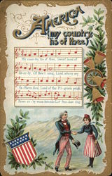 America my country tis of thee - music for America the Beautiful with a patriotic couple
