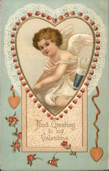 Fond Greeting to my Valentine - cupid in a heart