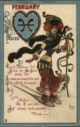 February - Woman on Snowshoes beside Pisces Sign in Heart