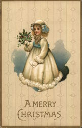 A Merry Christmas - Girl holding mistletoe