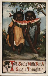 Two souls with but a single thought - two black children eating a watermelon