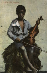 Young Black Lad Holding Violin and Bow on His Knee