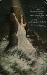 Woman In White Hanging on to Cross in Water