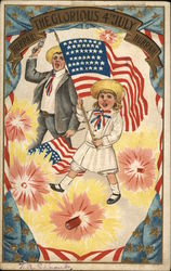 Hurrah The glorious 4th July Hurrah - girl waving flag, man shooting gun, firecrackers all around