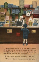 LIttle Boy Talking to Grocer Behind the Counter