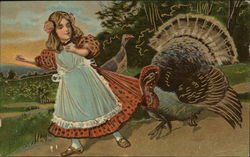 Turkeys with a girl in a pink dress and blue apron