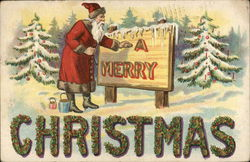 A Merry Christmas - Santa Painting a Sign