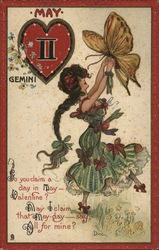 May - Girl Holding Butterfly beside Gemini Symbol in Heart Postcard