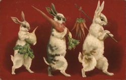 rabbits carrying carrots and an onion