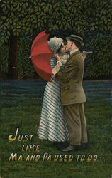 couple kissing with a red umbrella - Just Like Ma and Pa used to do