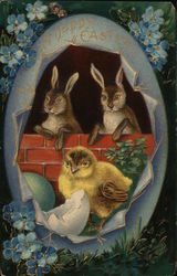 Happy Easter - bunnies and a chick in an egg
