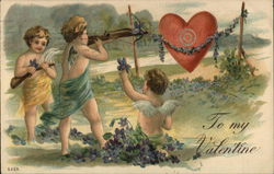 Three Young Angels Shooting Arrows at a Heart Target