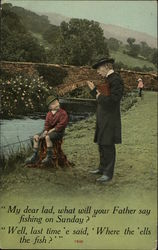 Man talking to a boy fishing on the bank of a river