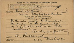 Rules to be Observed in Ordering Books - Mercantile Library, Astor Place
