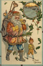 A Merry Christmas - Santa blowing a horn with an elf