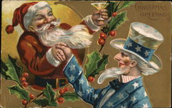 Santa shaking Uncle Sam's hand