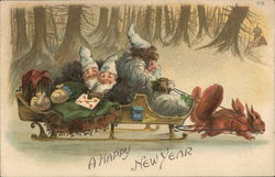 A Happy New Year - elves on a sled drawn by squirrels