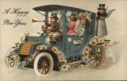 A Happy New Year - children in a model T car