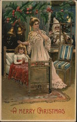 A Merry Christmas - Woman and Child with Santa Claus looking in the window