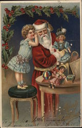 Girl whispering in Santa's ear as he leaves toys