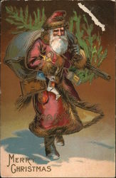 Merry Christmas - Santa carrying toys and a tree
