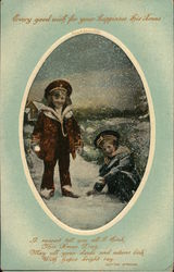 Children Playing in Snow - Every good wish for your happiness this Xmas