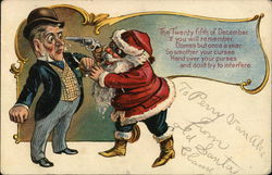 Santa Holding up a Well-Dressed Man at Gunpoint Postcard