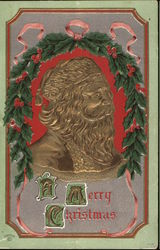 Santa face with Greenery and Red Berries