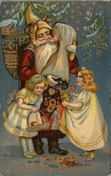 Santa Claus giving gifts to children