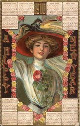 Happy New Year - 1910 calendar surrounding a woman with a hat