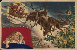 Merry Christmas - child sleeping with Santa flying his sleigh
