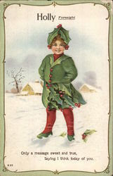 Smiling Young Person Dressed in Holly Leaves With Berry Buttons