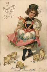 All happiness for Easter - girl holding eggs and flowers in her apron with chicks at her feet