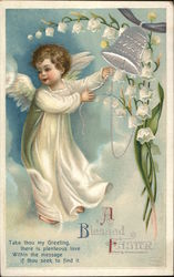 A Blessed Easter - angel with flowers and a silver bell