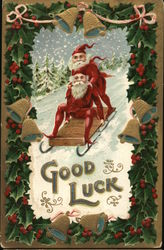 Good luck - elves sledding with a Christmas theme