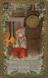 Santa Standing Next to Grandfather Clock