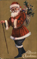 A Merrie Christmas - Santa with a cane and a sack of gifts