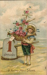 1 January A Happy New Year Postcard