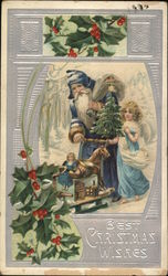 Best Christmas Wishes - Santa and an Angel with toys and tree