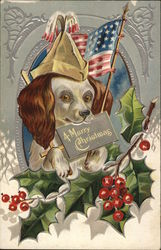 A Merry Christmas - Patriotic dog with holly
