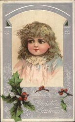 Christmas Greetings - little girl with holly borders
