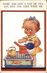 Come and get a cup of tea, any day you like with me - girl preparing tea