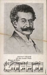 Johann Strauss October 25, 1825-June 3, 1899 - The Blue Danube Waltz - Portrait and line of music