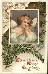Golden Haired Young Angel in White with Pine Branch in Background