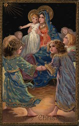 Merry Christmas - Angels dancing around the madonna & child Postcard