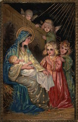 Angels visiting Mary and baby Jesus Postcard