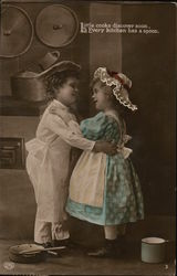 A Boy and Girl Embrace in the Kitchen