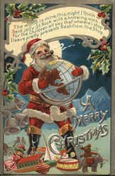 A Merry Christmas- Santa holding a globe with toys at his feet