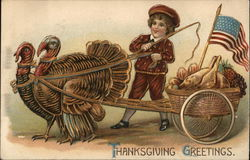 Little Boy With Harnessed Pair of Turkeys Pulling a Food Cart with American Flag